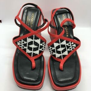 Red Leather Beaded Platform Thong Sandals